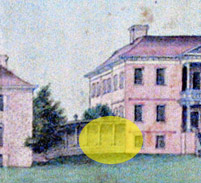 A detail of the 1765 watercolor.  The yellow circle indicates the area under investigation.