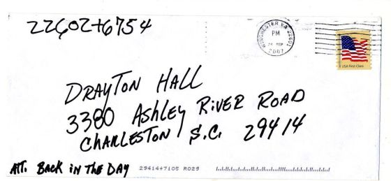 The envelope it was mailed in - postmarked Wincester, VA.