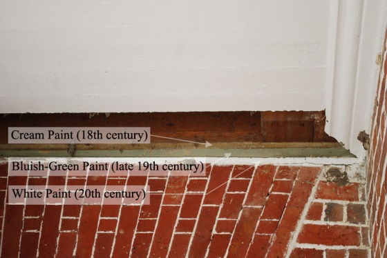 "A fascia board has been revealed showing at least three different generations of paint.  The ""stacking"" of these layers also suggests that the ceiling of the portico was lowered several times."