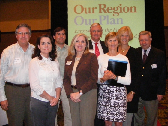 Drayton Hall Executive Director George McDaniel, (far left), and Director of Preservation and Education Carter Hudgins (third from left) attend a regional planning workshop.