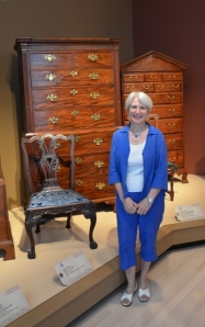 The author at the behind-the-scenes preview; on the left, a newly conserved mahogany side chair that once graced Drayton Hall's great hall.