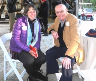 Alison Rea, author and Drayton family descendant, sits with Charlie Drayton during the Backlot Celebration at Drayton Hall in November 2013.