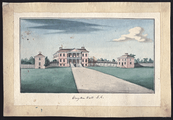 "Artist: Pierre Eugene Du Simitiere (ca. 1736–1784), Drayton Hall S. C. Dated ""1765"" on reverse. Watercolor, pencil, and ink on laid paper, 8-3/8 x 12-1/2 inches. Drayton Hall collection."