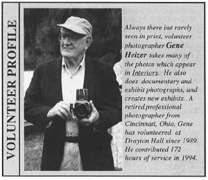 A volunteer profile on Gene Heizer from a Drayton Hall newsletter published in 1995.