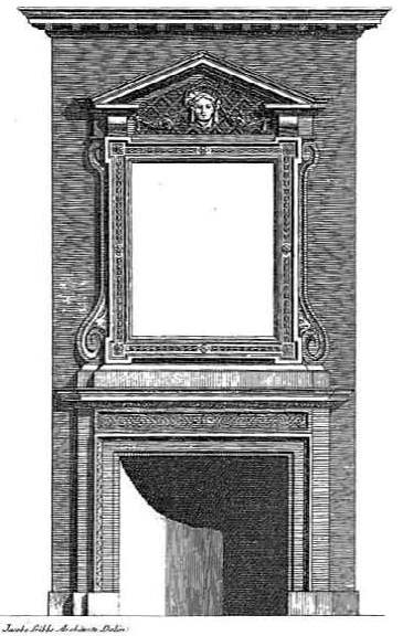 Plate 91, A Book of Architecture, by James Gibbs, published in 1728. This mantel and overmantel appear in the northwest chamber on the first floor of Drayton Hall.