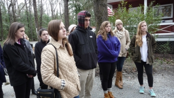 Students listening to Drayton Hall's preservation department staff introduce them to the site.