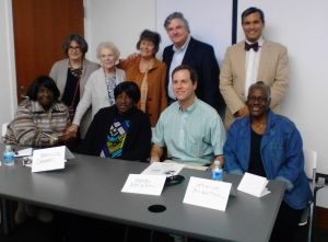 In March, descendants of Drayton Hall—both Drayton family members and descendants of the enslaved—participated in a panel discussion at the College of Charleston. Standing (l to r): Ruth Ellen Gruber, Lainie Lesser-Mark, Dale Rosengarten, George McDaniel, Grant Gilmore. Seated (l to r): Annie Meyers, Rebecca Campbell, Shelby Nelson, Catherine Braxton.