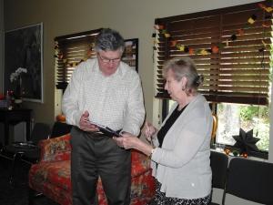 GWM presenting Janie with a special Drayton Hall Memory Book  10-15-14