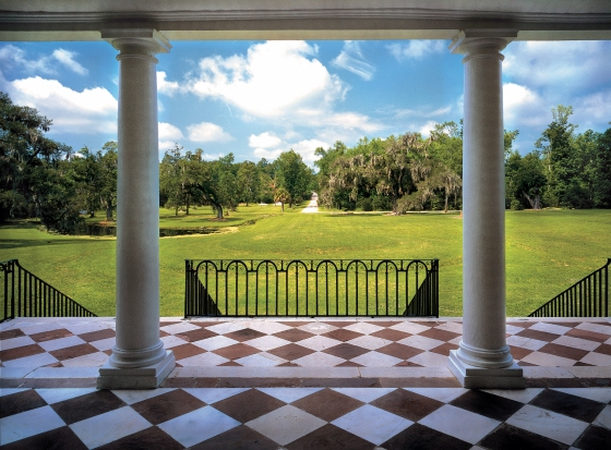 A view of the great lawn from the portico.